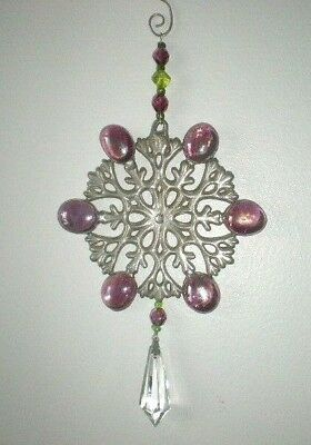 **Snowflake Suncatcher With Glass Beads & Crytal**