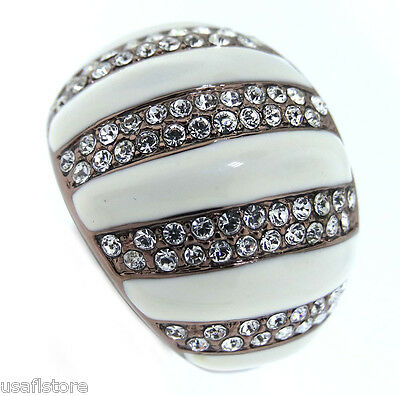 Crystal Circles TIN Cobalt Black Gold Plated Le Glace Ladies Ring