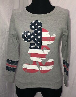 a374a3f6e Womens Disney Mickey Mouse Shirt Size XS S Gray Red White Blue Long Sleeves