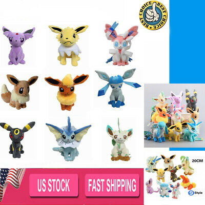 "8"" Pokemon Jolteon Flareon Glaceon Espeon Sylveon Plush Toy Stuffed US Stock"