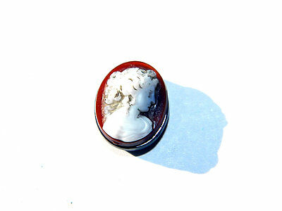 Old ITALIAN CAMEO BEAD Roman Female Profile Onyx w/ Corneol Roman Tile 1930s