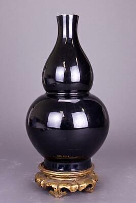 18Th C. Chinese Double Gourd Mirror Black Vase