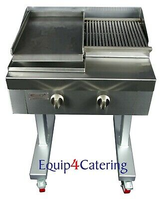 2 Burner Gas Charcoal Char Grill Bbq Heavy Duty For Commercial Use (On Stand)