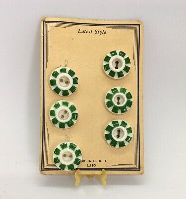 Vintage Latest Style Button Store Card Original White & Green 6 Plastic Buttons