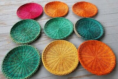 "Vintage Wicker Paper Plate Holders Lot of 9~  9.5"" Rattan Colors Picnic BBQ"