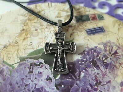 Vintage Orthodox cross necklace,Jesus Christ crucifixion,Mary mother of Jesus