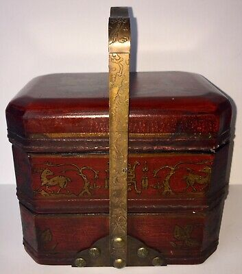 3 Tier Old Chinese Wedding Basket Lunch Stacked Nesting Box Hand Painted EUC