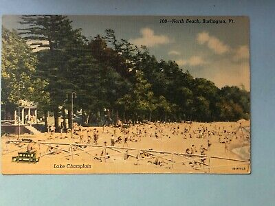 Early 1900's postcard featuring North Beach of Lake Champlain, Burlington, VT