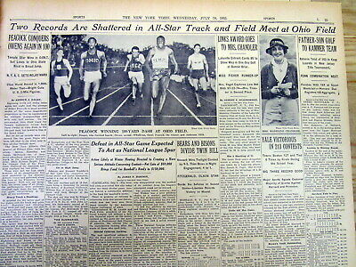 2 1935 NY Times newspapers JESSE OWENS in Ohio State Track Meet b4 1936 Olympics