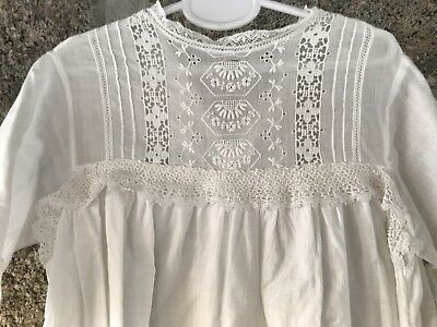 Antique Childs Hand Embroidered White Cotton Lace Christening dress - Doll ?