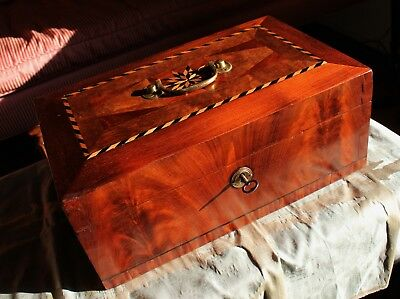 American Late Federal Period Mahogany Compass Rose Inlaid Jewelry Box c. 1850