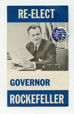 1966 Re-Elect Governor Rockefeller Pin and Pamphlet Keep New York In Front Pin