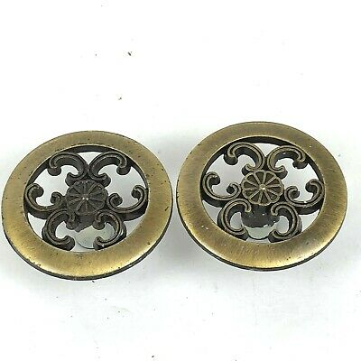 Vintage Cut Out Brass Metal Drawer Knobs Pulls Gold Patina 2 Pc Retro Art Deco