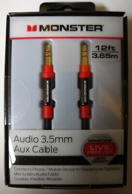Monster Audio 3.5mm Audio Aux Cable 12 ft (3.65m) New Sealed FREE S&H!!