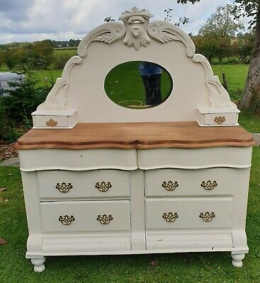 Victorian Mahogany Dresser  with decorative mirror to back stunning item solid