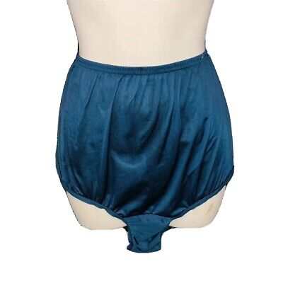Vtg L Vanity Fair-antron nylon Teal Blue HIGH WAIST PANTY Satin Shine Semi Sheer