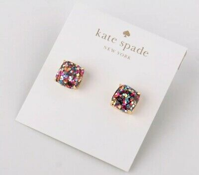 6000cecbc3068 $48 KATE SPADE gold tone multi crystal flying colors White stud ...
