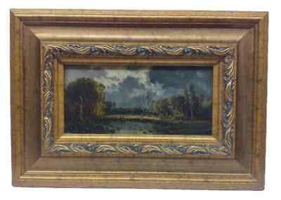 Antique 19th Cent. European Oil on Canvas Landscape Painting in Manner of Corot