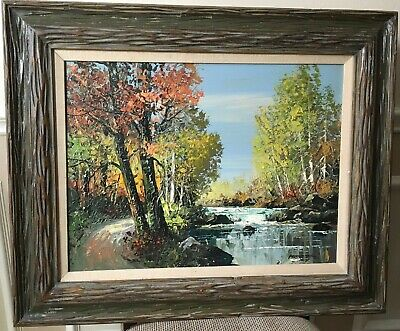 Paintings Other Antique Decorative Arts Acrylic Painting Landscape Signed Artist Vintage Wood Framed Original Canvas