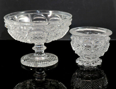 French lacy glass compote and matching salt, ca 1840, Corning Museum reference