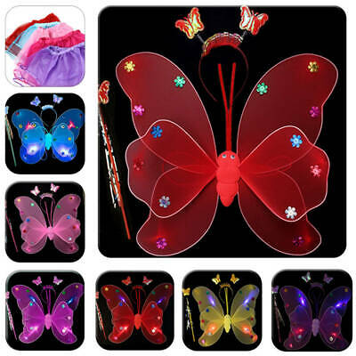 Girl's Kids Fairy Wings LED Butterfly Fancy Dress Up Costume Party Play Set AU