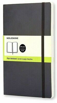 "NEW Moleskine Classic Notebook Soft Cover Large 5"" x 8.25"" Plain Blank Black"