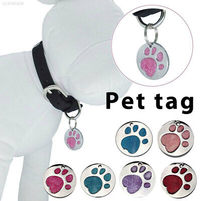 Security Cat ID Tag Pet Paw Print Tags Anti-Lost Glitter Pendant Alloy Engraved