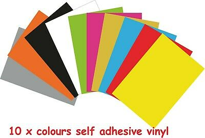 10 x Sheets A4 Self Adhesive Vinyl Art Craft Sign Sticker Decal Colours