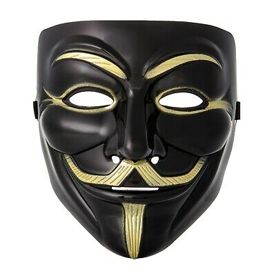2 Negras Guy Fawkes Anonymous Máscara Hacker V For Vendetta Halloween UK