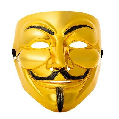 10 Oro Guy Fawkes Anonymous Máscaras Hacker V For Vendetta Halloween UK
