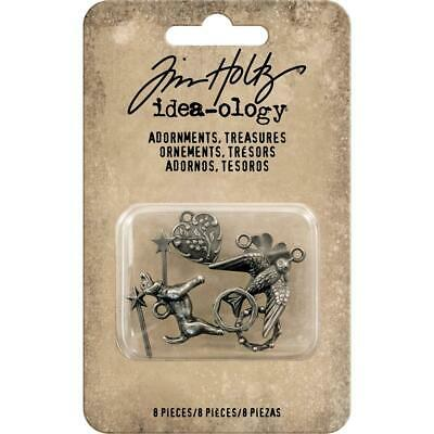 Tim Holtz Idea-ology 'TREASURES CHARMS & ACCENTS' 14pc Metal Embellishments
