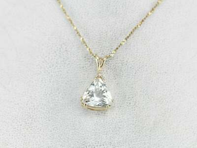 1.50 ct Trillion Diamond Womens Solitaire Pendant Necklace 14K Yellow Gold Over