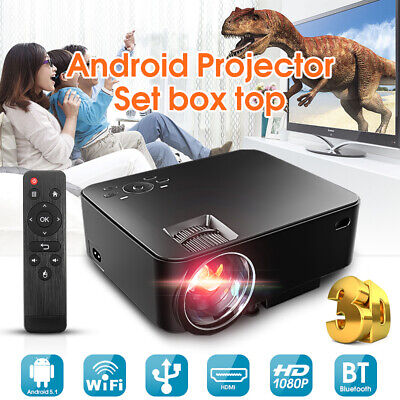 Smart HD Android Projector Wifi bluetooth Video Home Cinema HDMI 1080P Movie