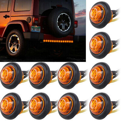 """20pcs 3/4""""Round Amber LED Bullet For Truck Trailer Side Clearance Marker Light A"""