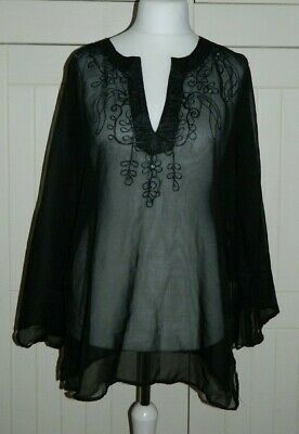 6a66d5204e Primark Black Sheer Tunic Beach Cover Up Top Size UK 16 - Holiday Beach  Summer
