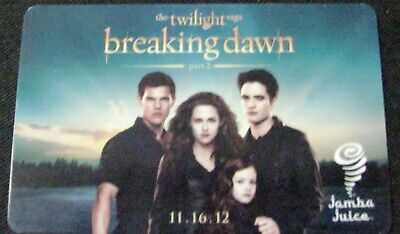 Jamba Juice Twilight Breaking Dawn 1 Gift Card NO $ Value Collectible Only