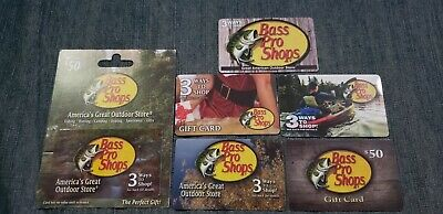 Bass Pro Shops 6 Gift Card Lot NO $ Value Collectible Only