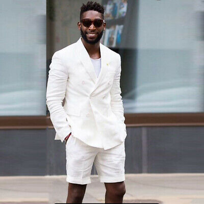 Beach Wedding Short Suits For Men White Linen Groom Suit Double-breasted Tuxedos
