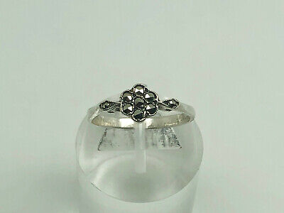 Antique Art Deco Sterling Silver Marcasite Cluster Cocktail Ring Size N 1/2