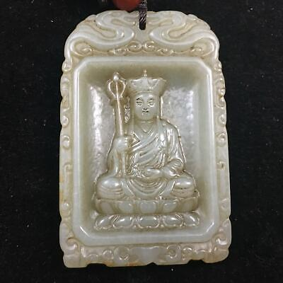 64mm China 100% Natural handcarved hetian white old jade Buddha statue Pendant