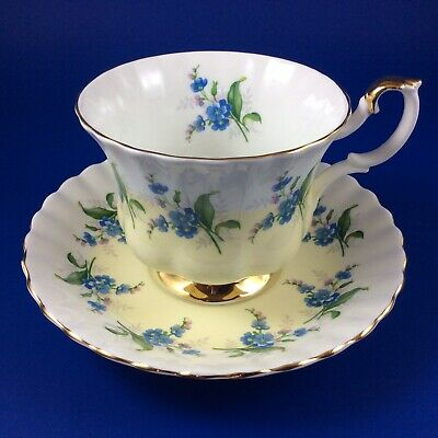 Royal Albert Blue Forget-Me-Nots Light Yellow Bone China Tea Cup And Saucer