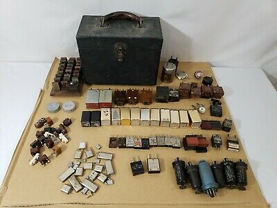 WW2 US Army Signal Corps Radio Crystal Oscillators Large Estate Lot With Case