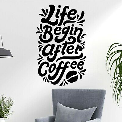 Life Begins After Coffee Cup Bean Quote Fun Decal Wall Art Stickers Home UK