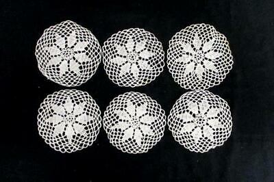 """Lot of 6 Round Vintage Handmade Crocheted Lace Doilies Flower Coasters 4.5"""""""