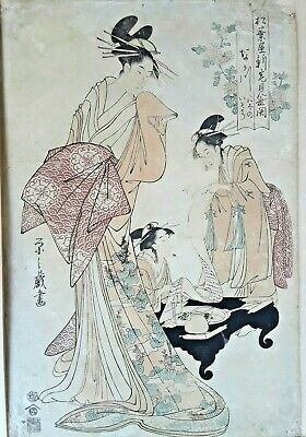 Hosoda Eishi Antique ca 1790-1805 Ukiyoe Japanese Edo Woodblock Print Courtesans
