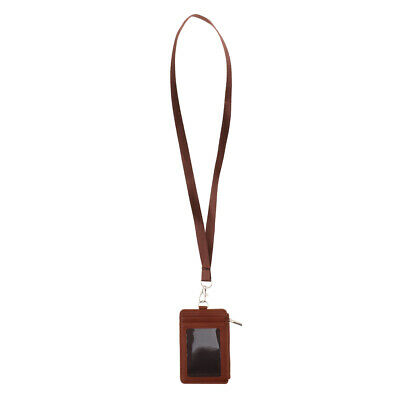 Slim Double Sided PU Leather Zipper Badge ID Card Holder w/ Neck Strap Brown