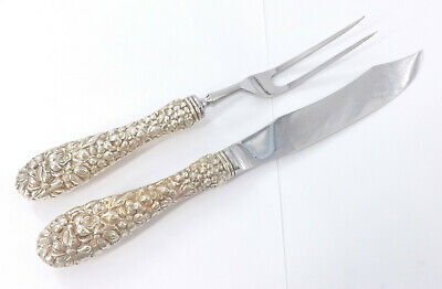 Stieff Rose Repousse Sterling Silver Stainless Blade Two Pc Carving Set - S56