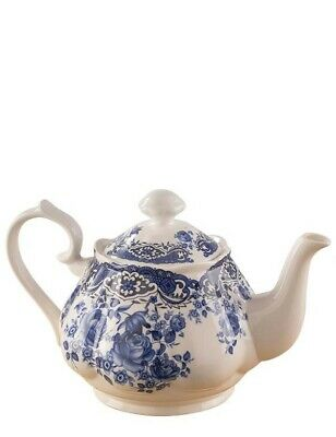 Victorian Trading Co Bone China Blue Willow Roses Teapot