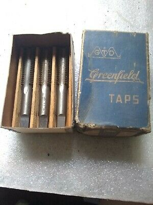 Greenfield Tap set in Wood box 5/8-11 NC HS Vintage nice New Old Stock
