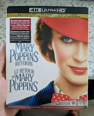 Mary Poppins Returns (Blu-ray + 4K UHD) BRAND NEW!! w/ Slipcover
